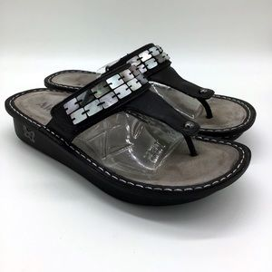 Alegria Black Slip On Thong Sandals 39
